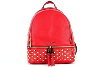 MICHAEL Michael Kors Red Medium Back Leather Backpack With Studs - RED - STYLE