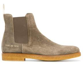 Common Projects Men's Green Suede Ankle Boots.