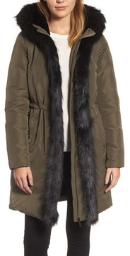 Donna Karan Women's Dkny Prato Faux Fur Trim Down Parka