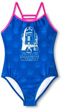 Star Wars Girls' R2D2 1pc Swimsuit - Blue