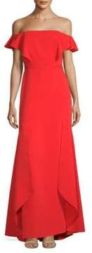 BCBGMAXAZRIA Off-The-Shoulder Sheath Gown
