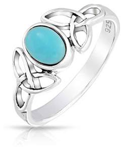 Celtic Bling Jewelry Open Knot Triquetra Reconstituted Turquoise Sterling Silver Ring.
