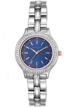 Anne Klein Crystal Bezel Round Navy Dial Bracelet Watch