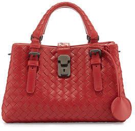 Bottega Veneta Roma Small Woven Leather Satchel Bag