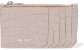 Saint Laurent Croc-effect Leather Cardholder - Blush - BLUSH - STYLE