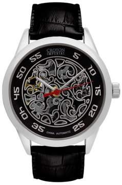 Croton Men's Silver/Black Imperial Automatic Strap Watch