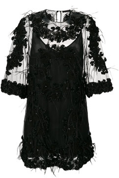 Amen embellished feather accent dress