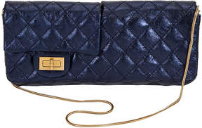 One Kings Lane Vintage Chanel Reissue Metallic Blue Clutch - Vintage Lux