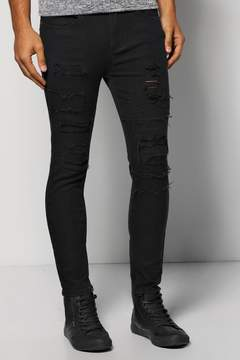 boohoo Skinny Fit Jeans With Patchwork Rip And Repair