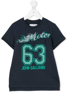 John Galliano pyramid stud logo print T-shirt