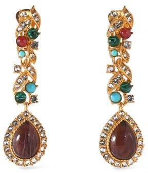 Ben-Amun Gold-Tone Stone And Crystal Clip Earrings