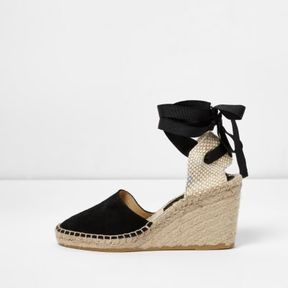 River Island Womens Black suede ankle tie espadrille wedges