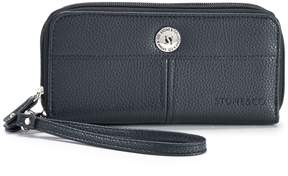 Co Stone & Pebbled Leather Double Zip Around Wallet