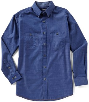 Roundtree & Yorke Casuals Long-Sleeve Solid Textured 2 Pocket Sportshirt