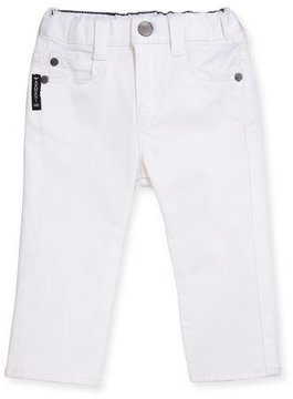 Armani Junior Slim-Fit Stretch Denim Jeans, White, Size 6-24 Months