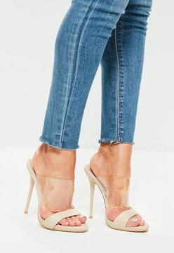 Missguided Nude Clear And Snake Strap Heeled Mules