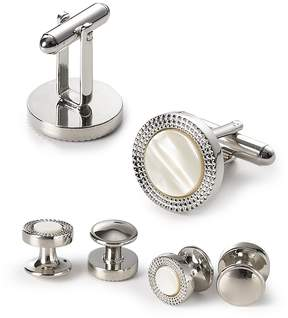 Bloomingdale's The Men's Store at Decorative Circle Stud and Cufflink Set