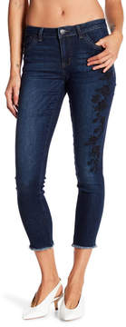 Democracy Rose Embroidery Seamless Ankle Skinny Jeans