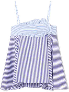 Carven Striped Cotton-poplin Camisole - Blue