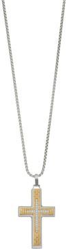 Lynx Men's Two Tone Stainless Steel Cubic Zirconia Cross Pendant Necklace
