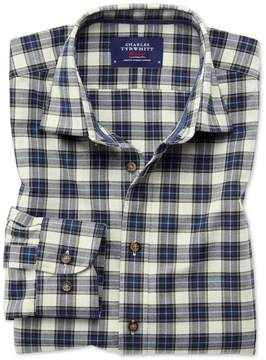 Charles Tyrwhitt Classic Fit Heather Tartan Silver and Blue Check Cotton Casual Shirt Single Cuff Size Large