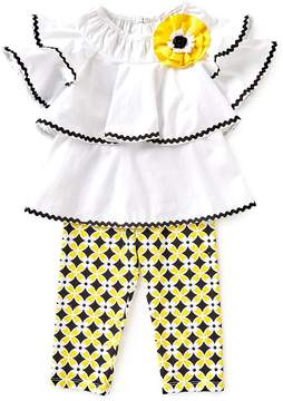 Rare Editions Little Girls 2T-6X Ruffle Bell-Sleeve Top & Patterned Leggings Set