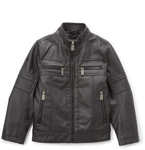 Urban Republic Black Faux Leather Moto Jacket - Boys