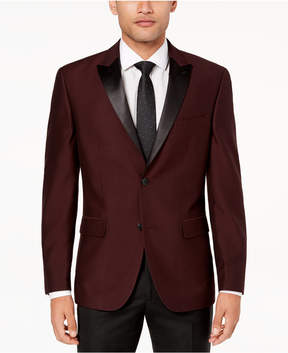 Alfani Men's Slim-Fit Burgundy Mini-Grid Dinner Jacket, Created for Macy's