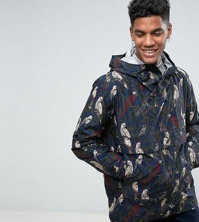 Herschel Voyage Packable Overhead Anorak Parlour Bird Print in Navy UK EXCLUSIVE