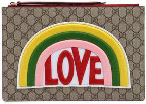Gucci Love Patch Gg Supreme Pouch - TAUPE - STYLE