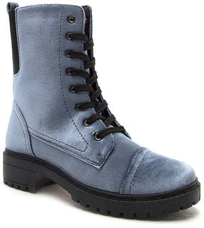Qupid Ice Blue Velvet Postal Boot - Women