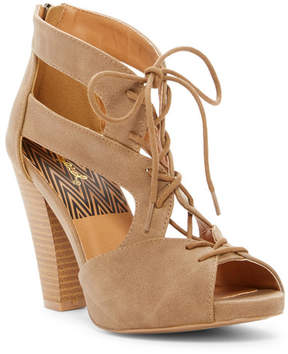 Qupid Bailey Lace-Up Cone Heel Sandal