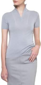 Akris Zip-Neck Cashmere-Silk Pullover