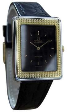 Omega DeVille Swiss Made Stainless Steel Gold Bezel Mens Watch