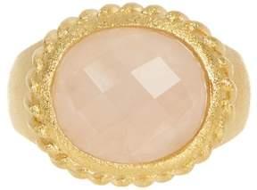 Rivka Friedman Twisted Bezel Oval Faceted Rose Quartz Satin Ring