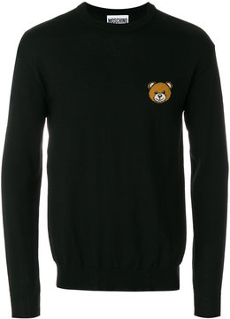 Moschino bear embellished crew neck sweater