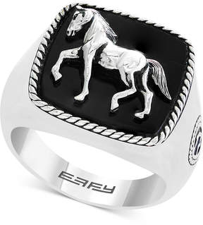 Effy Men's Onyx Horse Ring (16-1/2mm x 16-1/2mm) in Sterling Silver