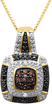 Black Diamond FINE JEWELRY 1/10 CT. T.W. White, Champagne and Color-Enhanced Pendant Necklace