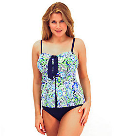 Fit 4 U Tummy Whimsical Paisley Pleat Tie-FrontSwim Top