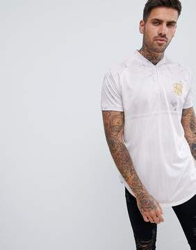 SikSilk Retro Muscle T-Shirt In White Marble With Half Zip