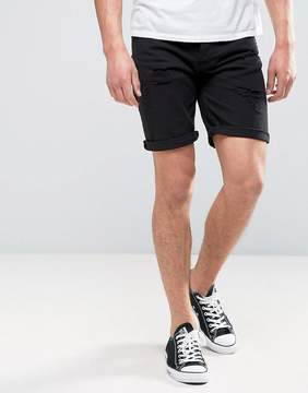 Pull&Bear Denim Shorts With Distressing In Black