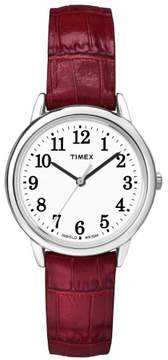 Timex Women's Easy Reader Watch, Red Croco Pattern Leather Strap