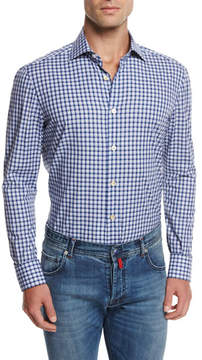 Kiton Check Cotton Shirt, Purple