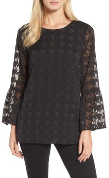 Chaus Women's Bell Sleeve Houndstooth Blouse