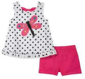 Kids Headquarters Little Girl's Two-Piece Dragonfly Top and Shorts Set