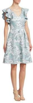 Theia Ruffled Fit-and-Flare Dress