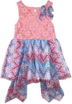 Nannette Girls 4-6x Nanette Printed Swiss Dot Chiffon Dress