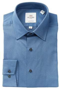 Ben Sherman Grey Dobby Print Slim Fit Dress Shirt