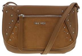 Nine West Womens Studded Star Faux Leather Lined Crossbody Handbag