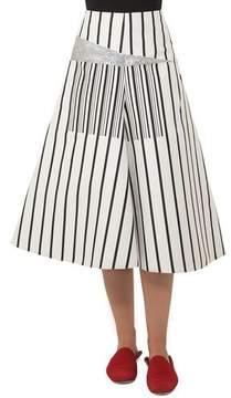Akris Structured A-line Striped Cotton Canvas Midi Skirt w/ Metallic
